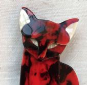 Lea Stein Cat Brooch - Stately Egyptian Cat Brooch in Red and Black (SOLD)